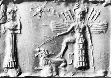 """Ishtar with her foot on a roaring lion and wearing a distinctive headdress resembling Madonna's horned crown. Ishtar is often depicted with wings, a feature that is recalled on Madonna's """"carriage""""."""