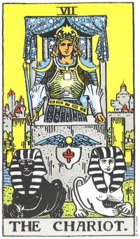 """The presence of two Sphinxes in front of Madonna greatly resembles the tarot card The Chariot. According to Manly P. Hall: """"This card signifies the Exalted One who rides in the chariot of creation. The sphinxes drawing the chariot resent the secret and unknown power by which the victorious ruler is moved continuously through the various parts of his universe."""""""